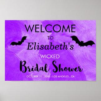 Bat Purple Black Bridal Shower Halloween Party Poster