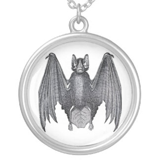 Bat Round Pendant Necklace