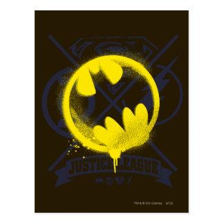 Bat Symbol Tagged Over Justice League Postcard