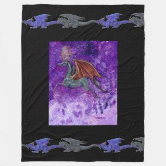 Bat Winged Unicorn Blue Black Dragons Fleece Blanket