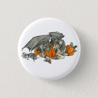 Bat winged Unicorn protecting a pumpkin patch 1 Inch Round Button