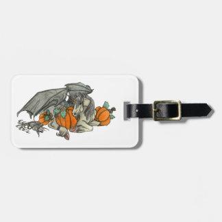 Bat winged Unicorn protecting a pumpkin patch Bag Tag