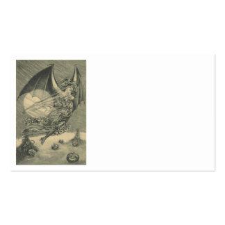 Bat Woman Jack O Lantern Pumpkin Cornstalk Moon Business Card