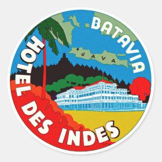 Batavia Hotel Des Indies Classic Round Sticker