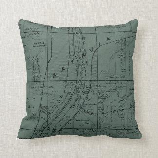 BATAVIA ILLINOIS 1871 MAP FOX RIVER VALLEY THROW PILLOW
