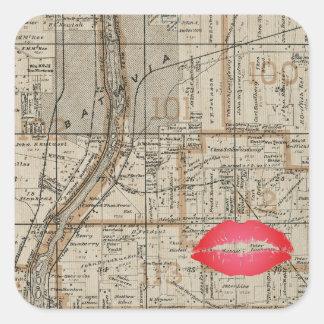Batavia Illinois Plat Map 1870 Fox River Valley Square Sticker