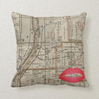 Batavia Illinois Plat Map 1870 Fox River Valley Throw Pillow