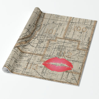 Batavia Illinois Plat Map 1870 Fox River Valley Wrapping Paper