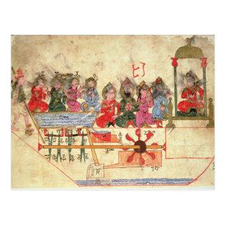 Bateau avec des automates, illustration carte postale