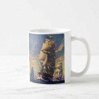 Bateaux de tondeuse vintages, transport en mer mug à café