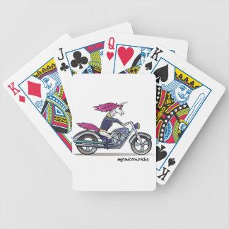 Bath ASS unicorn on motorcycle - bang-hard unicorn Bicycle Playing Cards