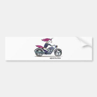Bath ASS unicorn on motorcycle - bang-hard unicorn Bumper Sticker