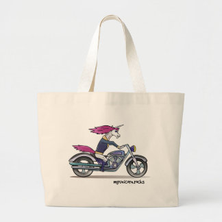 Bath ASS unicorn on motorcycle - bang-hard unicorn Large Tote Bag