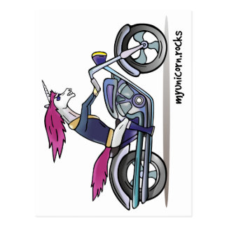 Bath ASS unicorn on motorcycle - bang-hard unicorn Postcard