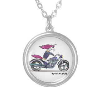 Bath ASS unicorn on motorcycle - bang-hard unicorn Silver Plated Necklace