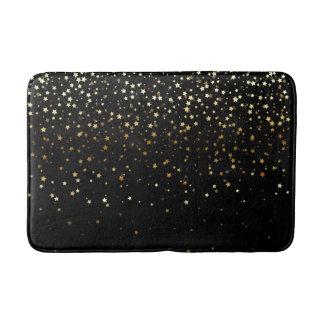 Bath Mat-Golden shower of Stars-Black Bath Mat