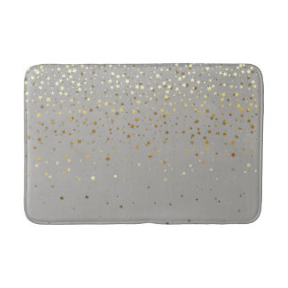 Bath Mat-Golden shower of Stars-Grey Bath Mat