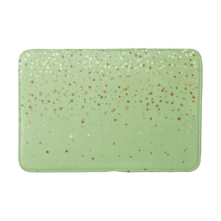 Bath Mat-Golden shower of Stars Honeydew Bath Mat