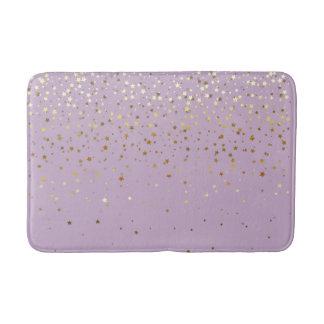 Bath Mat-Golden shower of Stars-Lavender Bath Mat