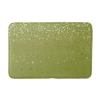 Bath Mat-Golden shower of Stars Olive Bath Mat