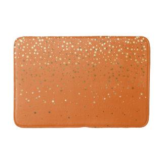Bath Mat-Golden shower of Stars Orange Bath Mat