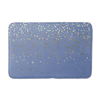 Bath Mat-Golden shower of Stars Periwinkle Bath Mat