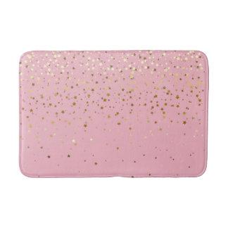 Bath Mat-Golden shower of Stars Pink Bath Mat