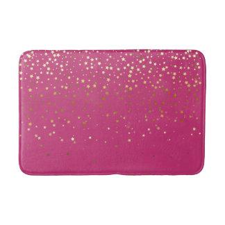 Bath Mat-Golden shower of Stars Raspberry Bath Mat