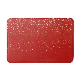 Bath Mat-Golden shower of Stars Red Bath Mat