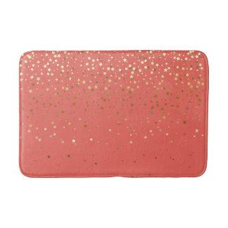 Bath Mat-Golden shower of Stars Salmon Coral Bath Mat