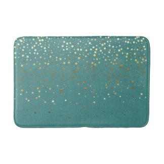 Bath Mat-Golden shower of Stars Teal Bath Mat
