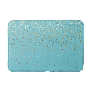 Bath Mat-Golden shower of Stars Turquoise Bath Mat