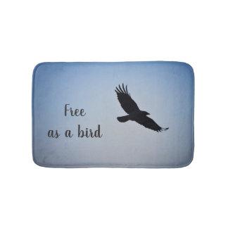 """Bath Mat with message: """"Free as a bird"""""""