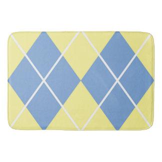 Bath Mat/Yellow and Blue Plaid Diamond Pattern Bath Mat