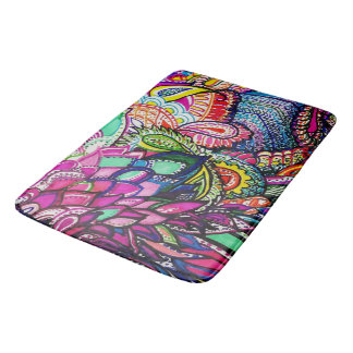 Bath Matt Zen Doodle Colourful Feather Design Bathroom Mat