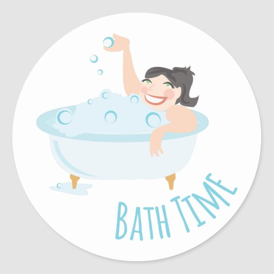 Bath Time Classic Round Sticker