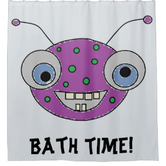 BATH TIME Cute Purple Alien Monster Kids
