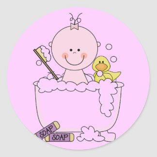 Bath Time Girl Tshirts and Gifts Classic Round Sticker