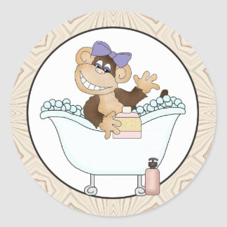 Bath Time Monkey cartoon sticker