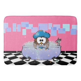 bath time owl bath mat