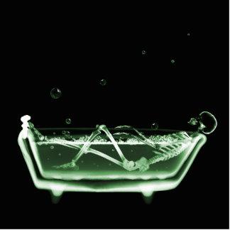 Bath Tub X-Ray Skeleton Green Standing Photo Sculpture