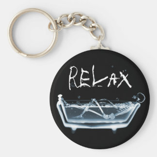BATH TUB X-RAY VISION SKELETON - BLUE KEYCHAIN