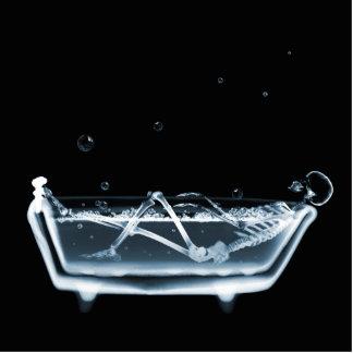 BATH TUB X-RAY VISION SKELETON - BLUE STANDING PHOTO SCULPTURE
