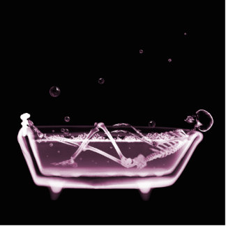 BATH TUB X-RAY VISION SKELETON - PINK STANDING PHOTO SCULPTURE