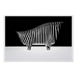Bath with zebra stripes poster