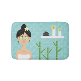 Bath Woman Spa Woman In Blue Bathroom Illustration Bath Mat