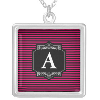 Bathed the Silver To glue Squared Pink Stripes Silver Plated Necklace