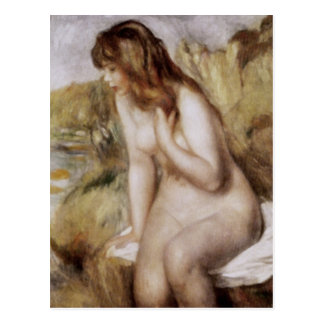 Bather Sitting on a Rock, Pierre-Auguste Renoir Postcard