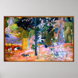 bathers paul gauguin painting art poster