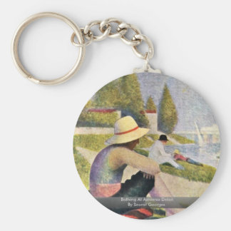 Bathing At Asnieres Detail By Seurat Georges Basic Round Button Keychain